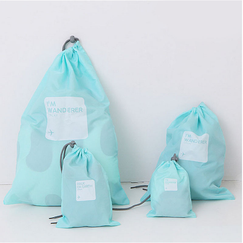 Waterproof Storage Bag - Nylon 4 Different Size - Drawstring Bags / Ditty Bag / Cord Bag /Shoes Bag for Travel Home Outdoor Hiking Camping